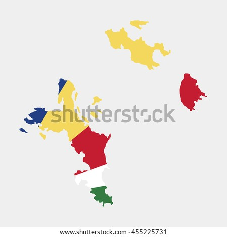 Territory and flag of Seychelles - stock vector