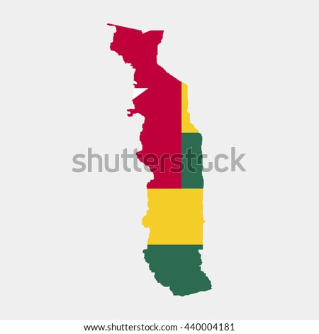 Territory and flag of Togo - stock vector
