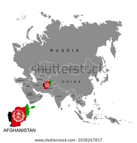 Territory Afghanistan On Asia Continent Flag Stock Vector - What continent is afghanistan in