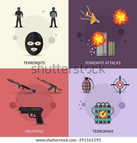 Terrorism design concept set with terrorist attacks and weapons flat icons set isolated vector illustration - stock vector