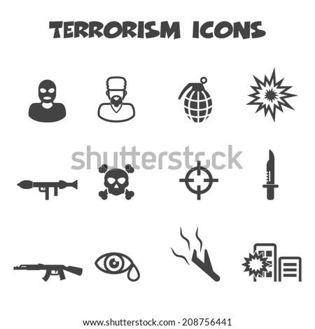 terrorism icons, mono vector symbols - stock vector