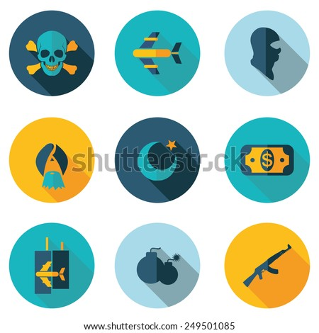 terrorism icons reflect the situation in the middle East and the terrorist threat from Islamic state (isis) - stock vector