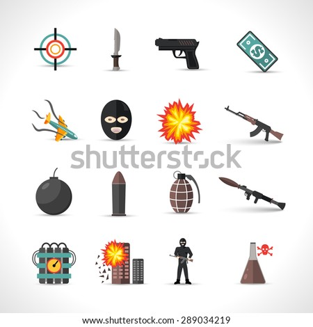 Terrorism icons set with different type of terror crimes symbols isolated vector illustration - stock vector