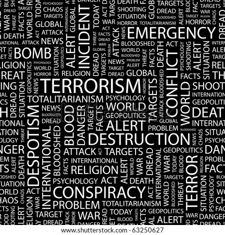 TERRORISM. Seamless vector pattern with word cloud. Illustration with different association terms.