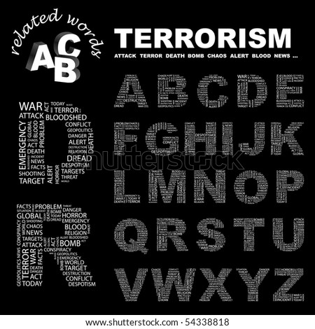 TERRORISM. Vector letter collection. Wordcloud illustration.