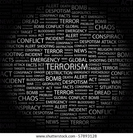 TERRORISM. Word collage on black background. Illustration with different association terms. - stock vector