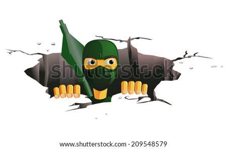 Terrorist coming out of the tunnel - stock vector