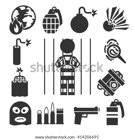 terrorist icons set - stock vector