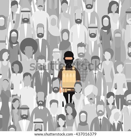 Terrorist In Crowd People Group Terrorism Threat Concept Flat Vector Illustration - stock vector