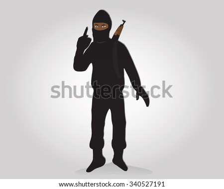 Terrorist points finger,islamic terrorist,vector illustrator - stock vector