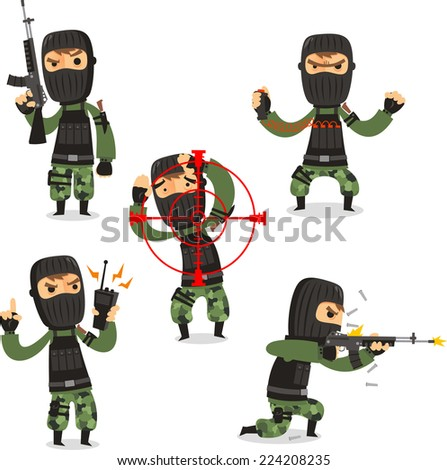 Terrorist Set with Mask Gun and Camouflage clothes vector illustration. - stock vector