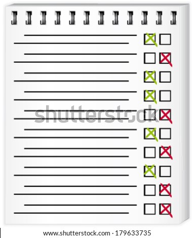 Test page with checkboxes. Vector illustration. - stock vector
