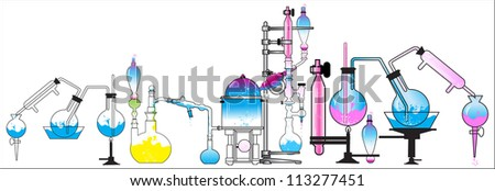 test tube chemistry (the science lab beakers scientist) - stock vector