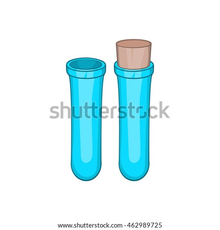 Test tube icon in cartoon style on a white background