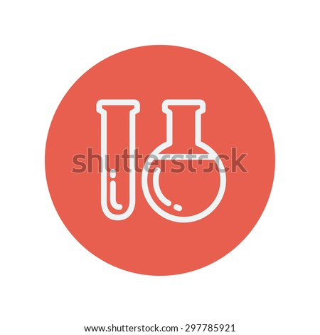 Test tube thin line icon for web and mobile minimalistic flat design. Vector white icon inside the red circle. - stock vector