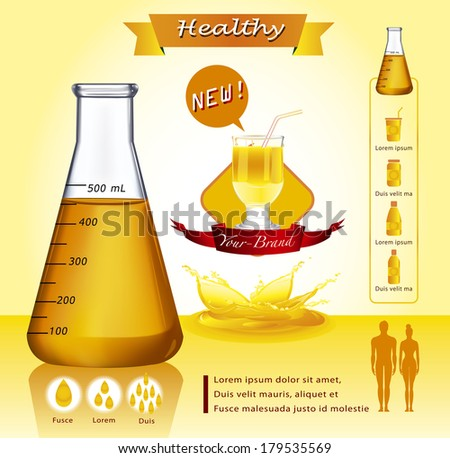 Test-tube with yellow liquid.infographics - stock vector