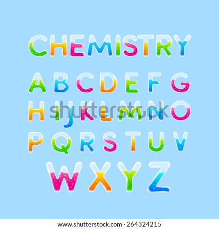 Test tubes & Chemistry alphabet colorful font style.Set of Capital letter A, B, C, D, E, F, G, H, I, J, K, L, M, N, O, P, Q, R, S, T, U, V, W, X, Y, Z. Vector illustration. - stock vector