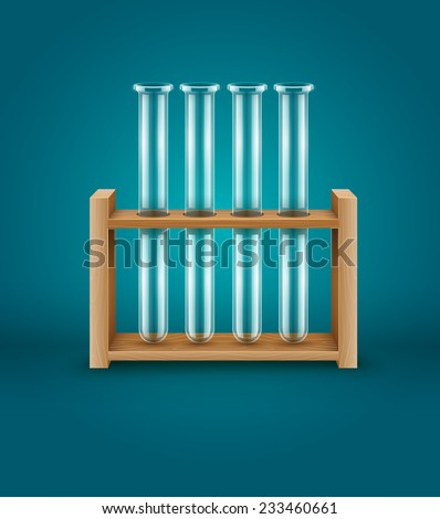 Test-tubes for medical laboratory analysis research in wooden support. Eps10 vector illustration - stock vector