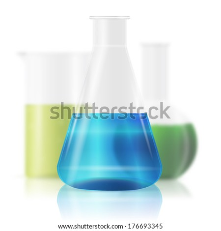 test tubes with colorful liquids isolated on white - stock vector