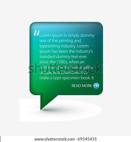 Testimonial glossy speech icon for web template design used. - stock vector