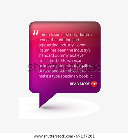Testimonial glossy speech icon for web templete design used. - stock vector