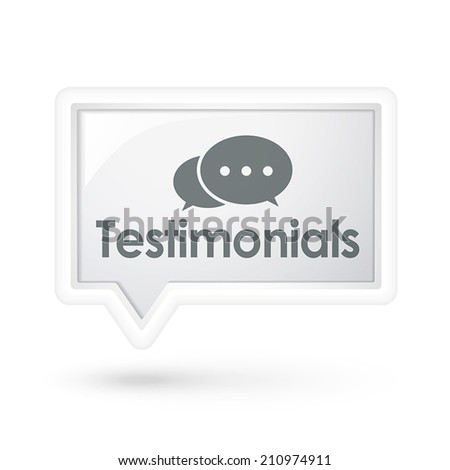 testimonials word on a speech bubble over white - stock vector