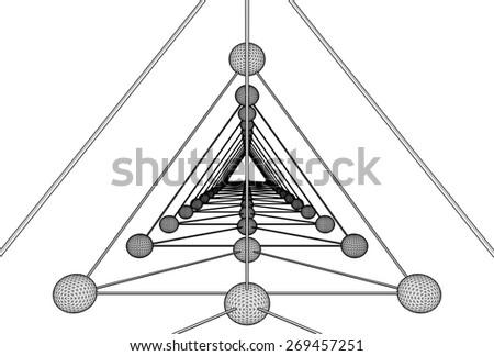 Tetrahedron DNA Molecule Structure Vector  - stock vector