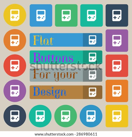 Tetris  icon sign. Set of twenty colored flat, round, square and rectangular buttons. Vector illustration - stock vector