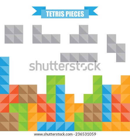 Tetris pieces. - stock vector