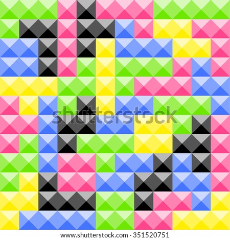 Tetris pieces. Plastic construction blocks. Seamless vector. Flat design. Different color. Red, blue, black, green, yellow color parts. - stock vector