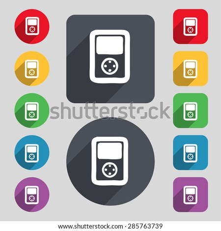 Tetris, video game console icon sign. A set of 12 colored buttons and a long shadow. Flat design. Vector illustration - stock vector
