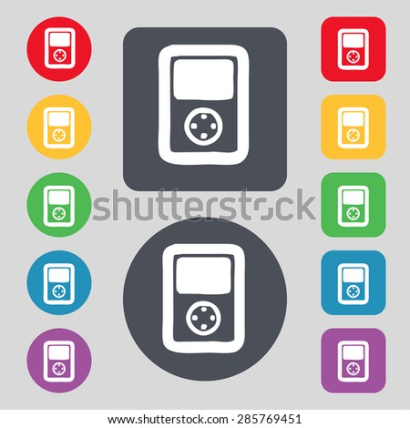 Tetris, video game console icon sign. A set of 12 colored buttons. Flat design. Vector illustration - stock vector