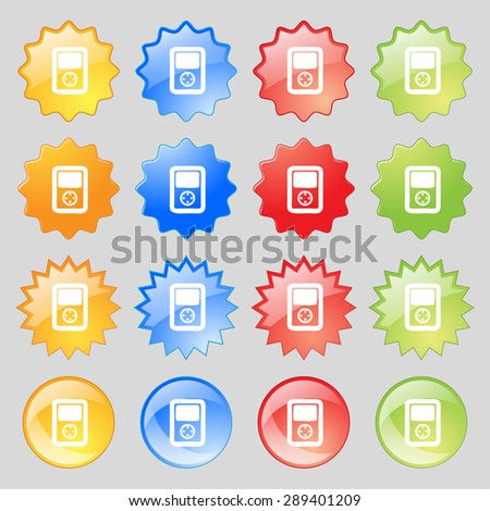 Tetris, video game console icon sign. Set from fourteen multi-colored glass buttons with place for text. Vector illustration - stock vector