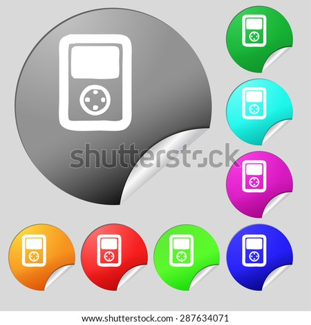 Tetris, video game console icon sign. Set of eight multi colored round buttons, stickers. Vector illustration - stock vector