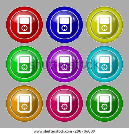 Tetris, video game console icon sign. symbol on nine round colourful buttons. Vector illustration - stock vector