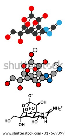 Tetrodotoxin (TTX) pufferfish neurotoxin molecule. Stylized 2D renderings and conventional skeletal formula.  - stock vector