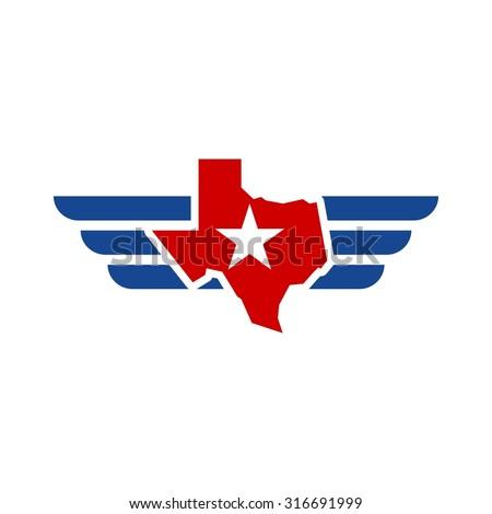 Texas aviation logo - stock vector