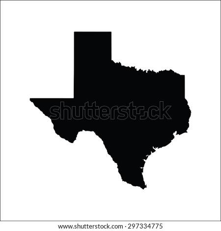 Texas black vector map flat design - stock vector
