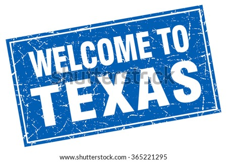 Texas blue square grunge welcome to stamp