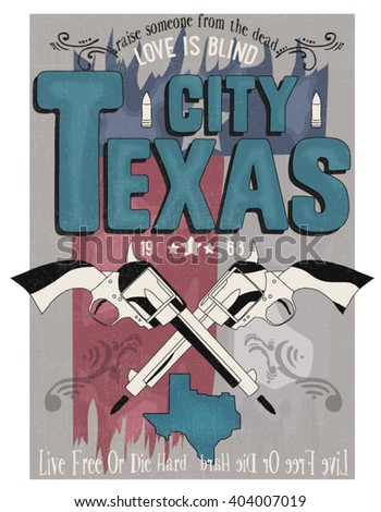 texas city illustration vector city and graphic design for tee - stock vector