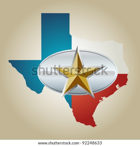 Texas Flag and State shape with star belt buckle - stock vector