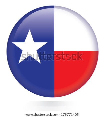 Texas flag button - stock vector