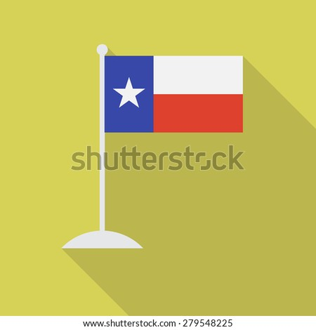 Texas flag with flagpole flat icon with long shadow. Vector illustration EPS10 - stock vector