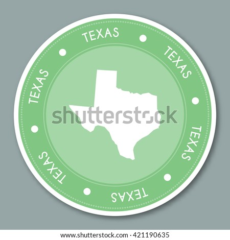 Texas label flat sticker design. Patriotic US state map round lable. Round badge vector illustration. - stock vector