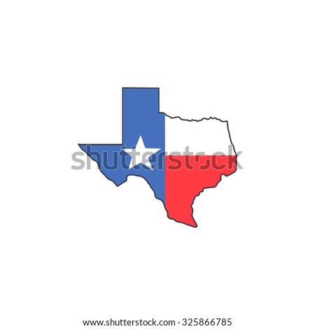 texas map and flag - stock vector
