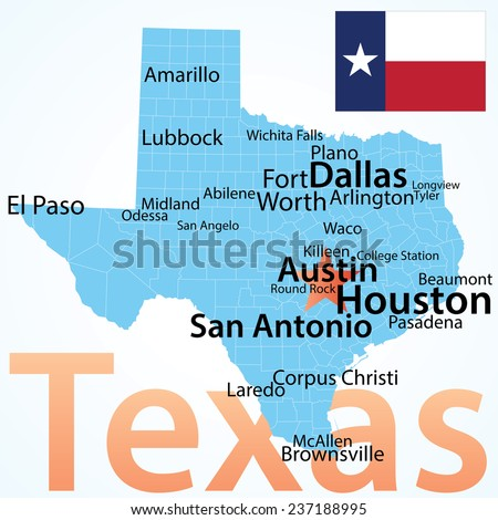 Texas Map Largest Cities Carefully Scaled Stock Vector - Texas maps cities