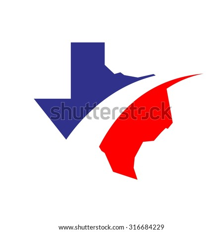 Texas map with swoosh - stock vector
