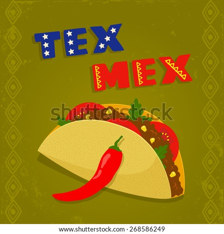 ... template with taco, chili pepper and geometrical border - stock vector