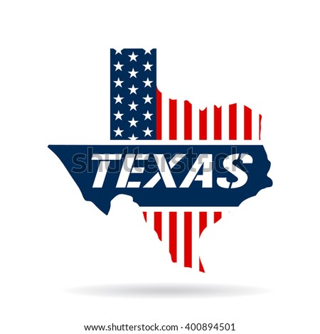 Texas patriotic map. Vector graphic design illustration - stock vector