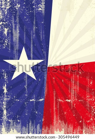 Texas retro sunbeams. A vintage texan poster with sunbeams and a a texture for your advertising - stock vector